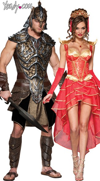 deluxe warrior couples costume