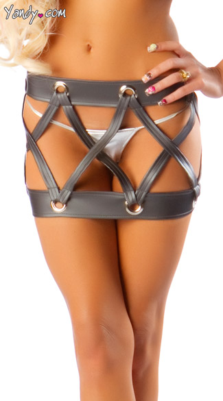 Drum Style Skirt, Cut Out Mini Skirt, Cage Skirt