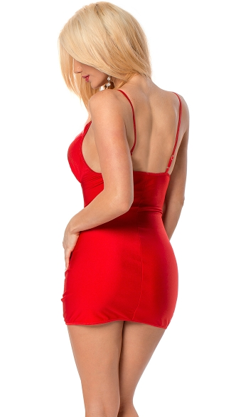 Peek-A-Boo Cut Out Mini Dress with Jewel Accents - Red