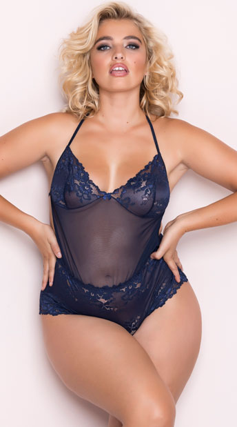 3fed6b4118539 Plus Size Midnight Hours Navy Teddy - Navy ...