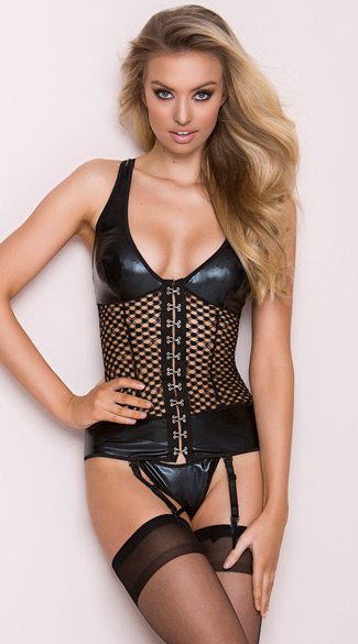Sexy Nights Bustier and Hose Set - Black
