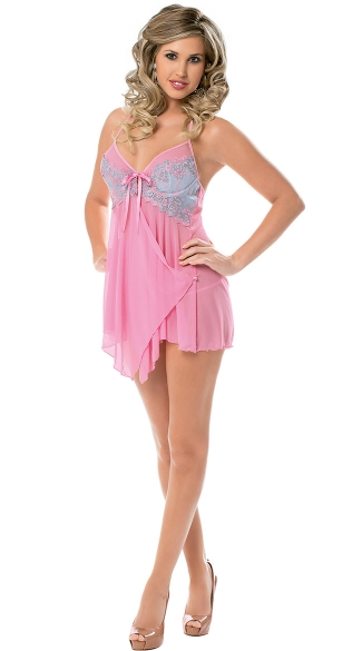 Sweet Bouquet Layered Front Baby Doll, Pink Flutter Babydoll