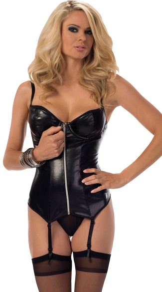 Hot Desire Faux Leather Zip Up Bustier Set, Sexy Underwire Wet Look Bustier and Panty, Zip Up Bustier Lingerie