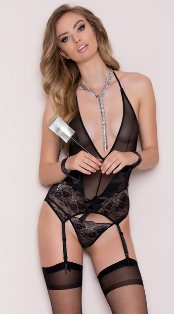 Make It Hurt Bustier Set with Accessories, Sexy Lingerie Bustier Set, Sheer Glamorous Bustier Set with Panty
