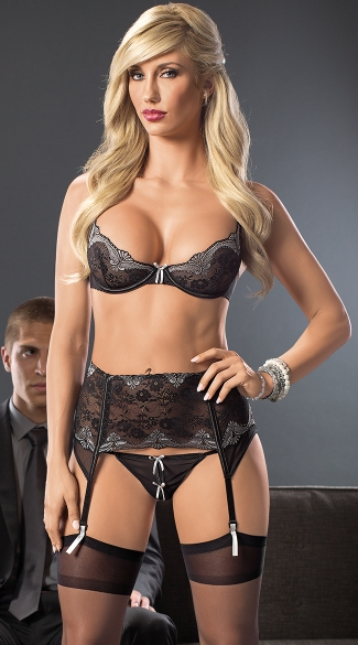 Business As Usual Sexy Bra and Garter Belt Set, S&M Lingerie Set, Sexy Bra and Garter Belt Set