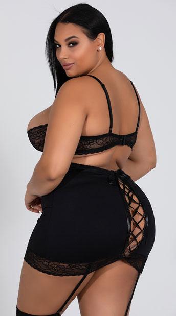 7de7c75d046 Plus Size High Waisted Garter Skirt Set - Black ...