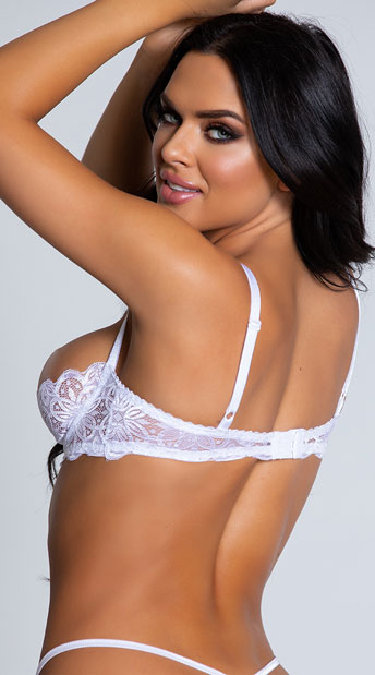 Sheer Lace Shelf Bra - White/Blue