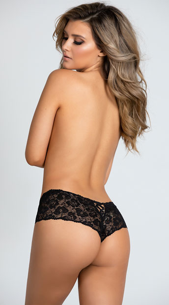 Plus Size Lace Crotchless Boyshort Panty - Black