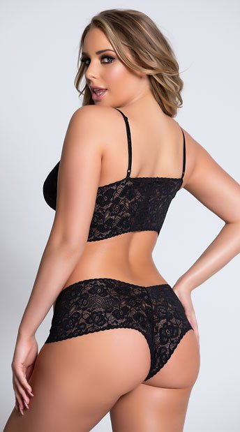 Sexy Lace Cami and Boyshort Set - Black