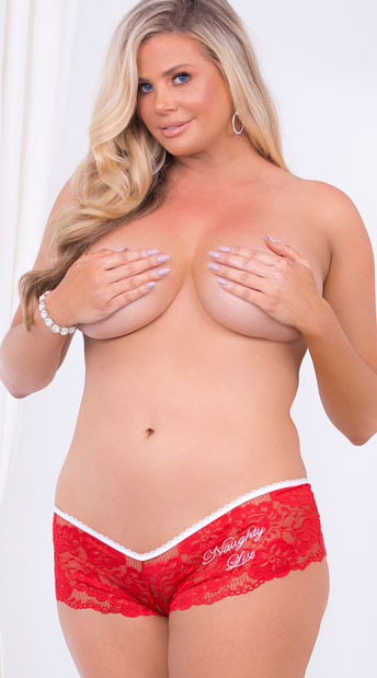 Plus Size Naughty List Lover Panty - Red/White