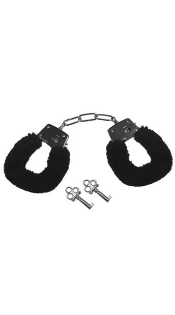 Black Sex & Mischief Furry Handcuffs - Black