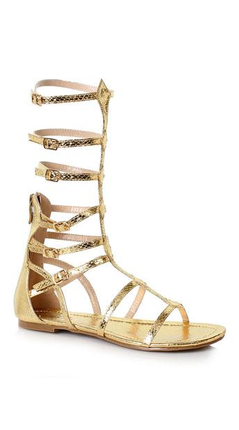 High Top Gladiator Flat Sandals - Gold ...