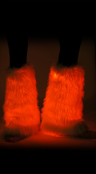 Fuzzy Light Up Red Legwarmers, Red Furry Legwarmers, Red Light Up Leg Warmers