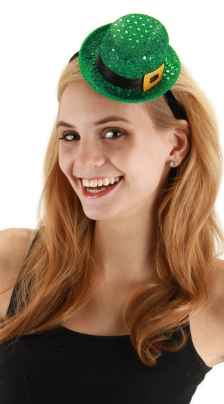 Mini Sequin Leprechaun Hat, Green Sequin Hat, Green Sequin St Patricks Day Hat