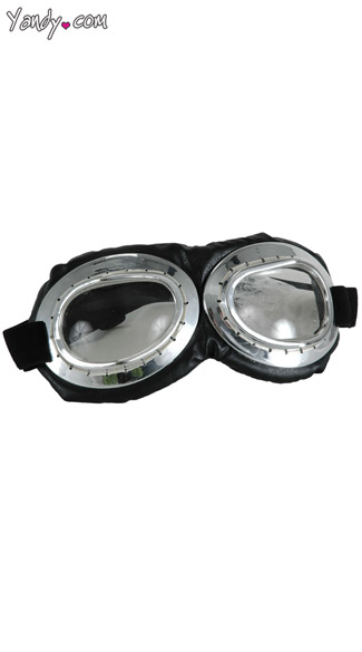 Silver and Black Aviator Goggles - Silver