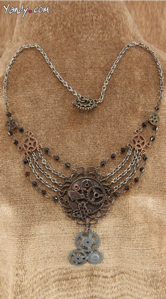 Antique Gear Chain Necklace - Copper