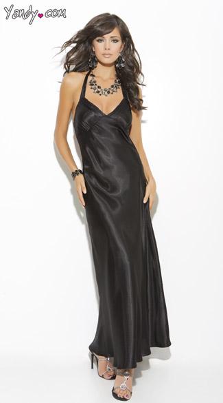 Long Satin Sleep Gown - Black