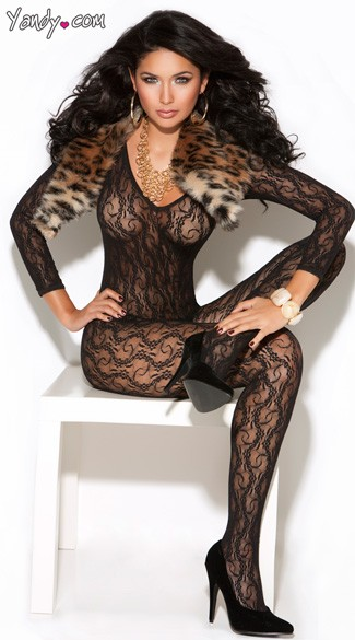 Long Sleeve Lace Bodystocking, Long Sleeved Bodystocking, Open Crotch Black Bodystocking