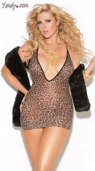 Plus Size Deep V Mini Dress, Leopard Print Plus Size Chemise