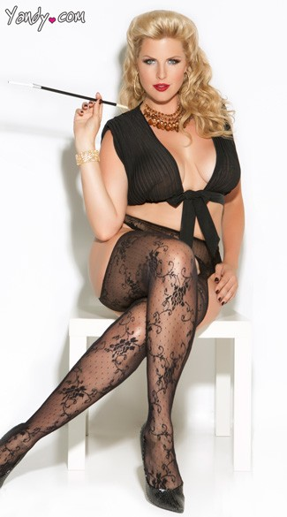 Plus Size Lace Suspender Pantyhose, Plus Size Patterened Stockings