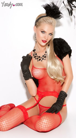 Red Diamond Net Camisole Set, Red Fishnet Camisole and Thong