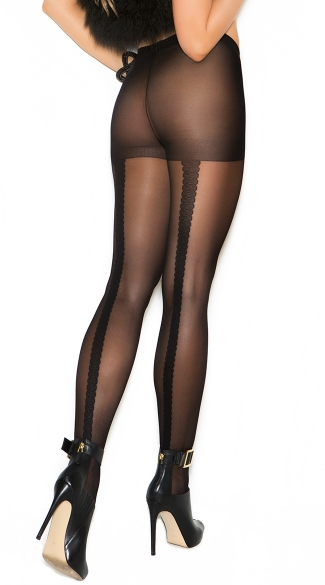 Sheer Pantyhose With Woven Lace Backseam, Lace Pantyhose, Black Lace Pantyhose