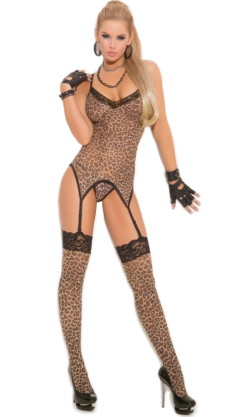 Plus Size Leopard Camisole and Stockings - Leopard