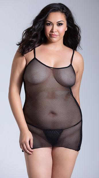 Plus Size Slip Mini Dress - Black