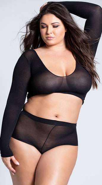 Plus Size Long Sleeve Cami and Booty Shorts Set - Black