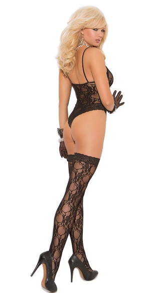 Plus Size Black Lace Teddy and Thigh Highs - Black