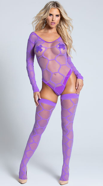 Hexagon Teddy with Matching Stockings - Purple