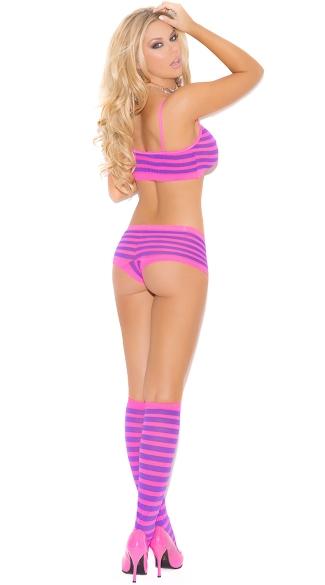 Hot Pink and Purple Striped Bra Set - Neon Pink/Neon Purple
