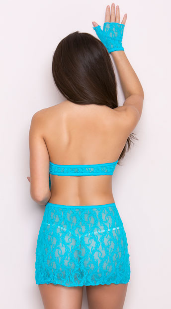 Lace Keyhole Cami, Skirt and Gloves - Turquoise