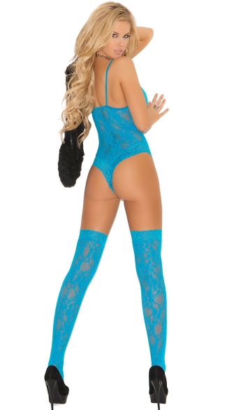 Plus Size Neon Blue Lace Teddy and Stockings - Turquoise
