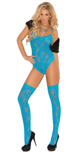 Plus Size Neon Blue Lace Teddy and Stockings, Turquoise Teddy, Blue Lingerie Teddy