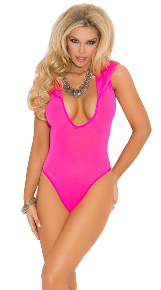Neon Pink Hooded Bodysuit, Low Cut Pink Romper