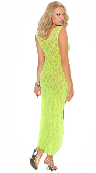 Long Lime Lace Chemise - Chartreuse