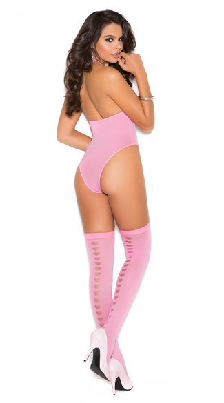 Love Me Pink Teddy and Stockings - Candy Pink