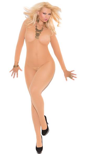 Plus Size Opaque Long Sleeve Bodystocking - Nude