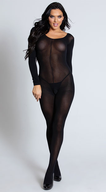 Foxy Babe Long Sleeve Bodystocking - Black