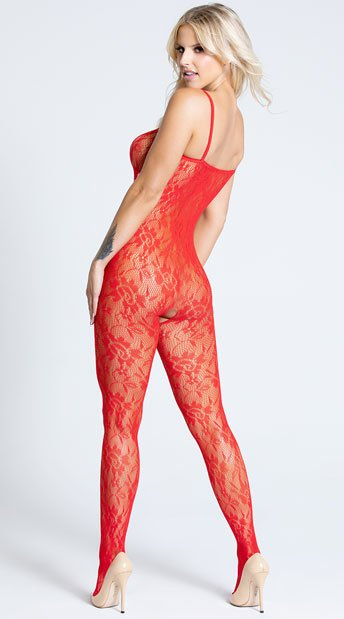Rose Lace Bodystocking - Red
