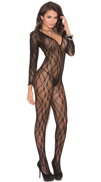 Deep V Long Sleeve Bodystocking - Black