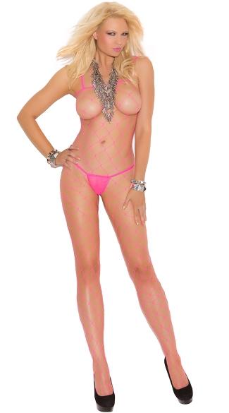 Large Diamond Net Bodystocking - Neon Pink