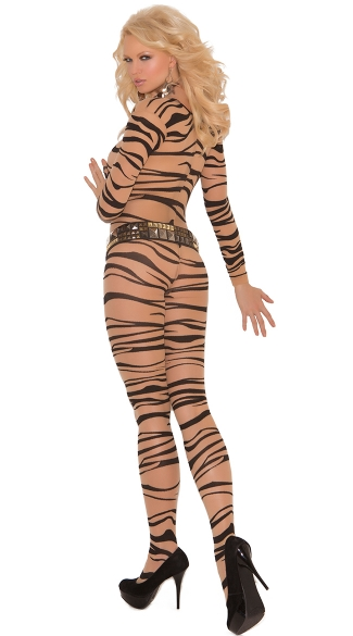 Zebra Print Crotchless Bodystocking - Nude/Black