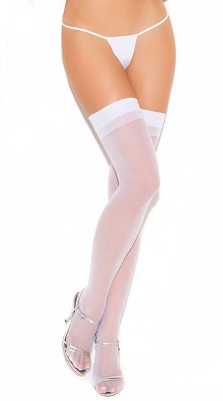 Plus Size Sheer Back Seam Stockings - White