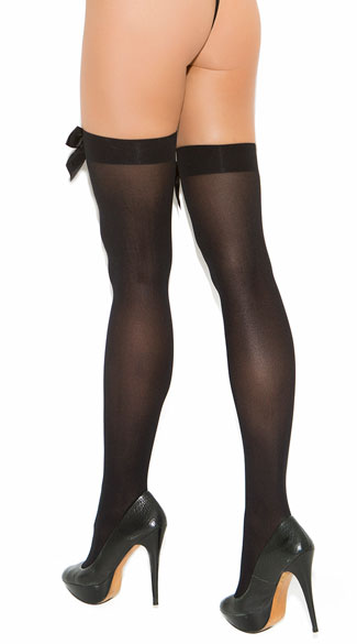 Plus Size Thigh High with Satin Bow - Black