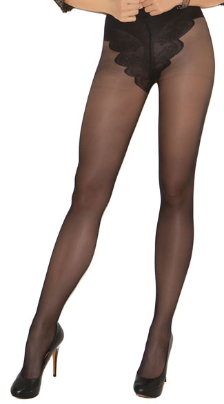 French Cut Support Sexy Pantyhose - Black