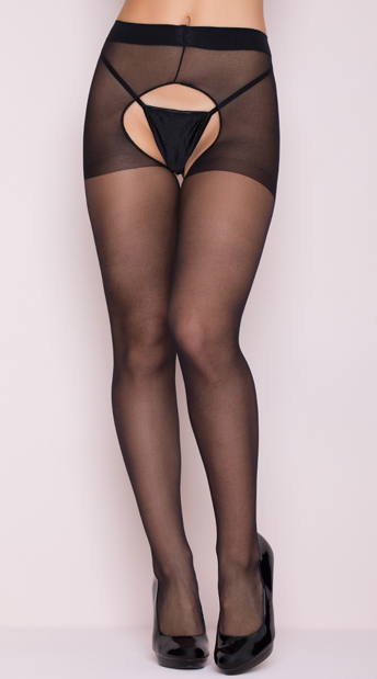 2142f7900 Sheer Crotchless Pantyhose - Black ...