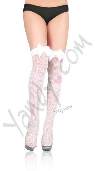 Fishnet Thigh High with Satin Bow, Christmas Thigh High Stockings, Red Thigh High Stockings
