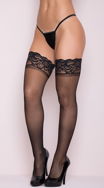 Stay Up Thigh High Stockings - Black